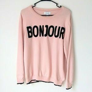 Elle Sweaters - Elle Pale Pink Bonjour Sweater